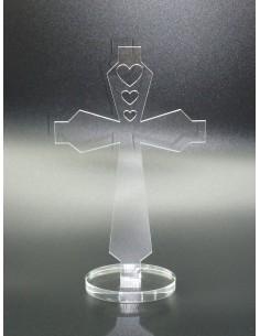 Croix aux coeurs sur socle...